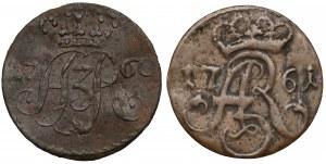 August III Sas, Szelągi Toruń 1760 (piękny) i 1761 (2szt)