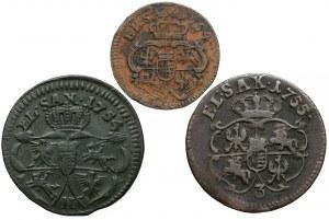 August III Sas, Szeląg i Grosze 1754-1755, zestaw (3szt)