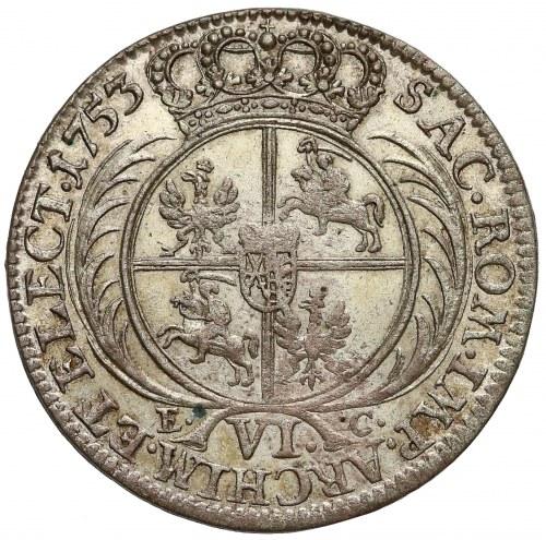 August III Sas, Szóstak Lipsk 1753 EC - pierwszy
