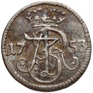 August III Sas, Szeląg Gdańsk 1753 WR - w SREBRZE