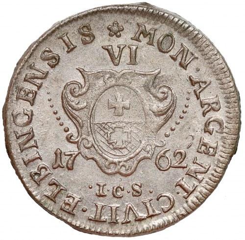 August III Sas, Szóstak Elbląg 1762 ICS - piękny i rzadki