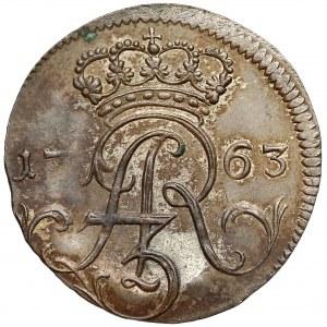 August III Sas, Trojak Elbląg 1763 FLS - piękny