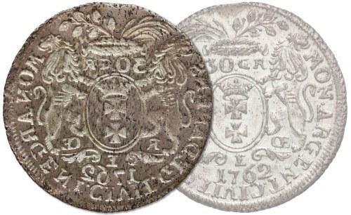 August III Sas, 'JEDNOSTRONNA' Złotówka Gdańsk 1762 REOE