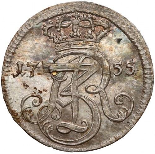August III Sas, Trojak Gdańsk 1755 - CZYSTE srebro - rzadkie
