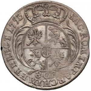 August III Sas, Dwuzłotówka Lipsk 1753 - przebitka 3/6