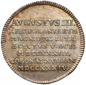 August III Sas, Żeton koronacyjny 1734 r. - piękny