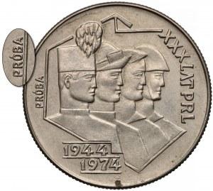 Próba MIEDZIONIKIEL 20 złotych 1974 Górnik, Hutnik... - bez znaku - rzadkość