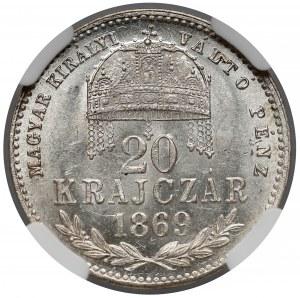 Austro-Węgry, 20 krajcarów 1869 KB - NGC MS63+