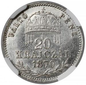 Austro-Węgry, 20 krajcarów 1870 GYF - NGC MS61