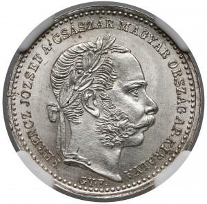 Austro-Węgry, 20 krajcarów 1869 GYF - NGC UNC