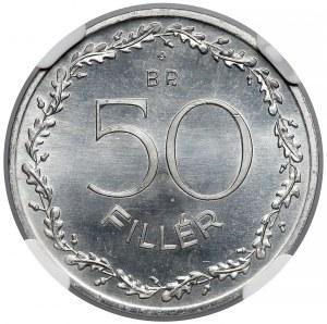 Węgry, 50 fillerów 1948 - nowe bicie - NGC PF67