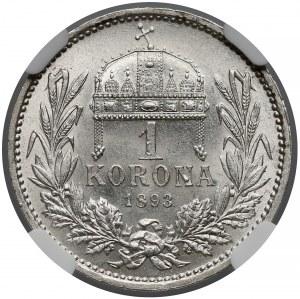 Austro-Węgry, Korona 1893 KB - NGC MS62