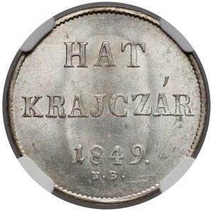 Węgry, 6 krajcarów 1849 NB - NGC MS64