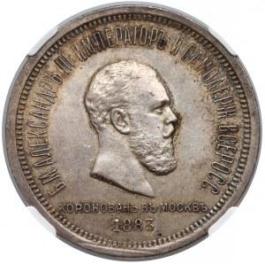 Rosja, Aleksander III, Rubel koronacyjny 1883 - NGC AU58