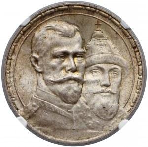 Rosja, Mikołaj II, Rubel 1913, 300 lat Romanowów - NGC MS65