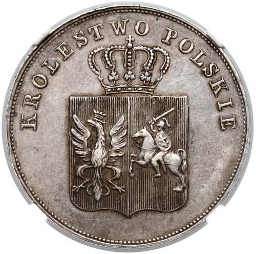Powstanie Listopadowe, 5 złotych 1831 KG - BEZ KRESKI - NGC AU55
