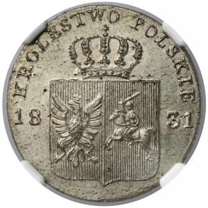 Powstanie Listopadowe, 10 groszy 1831 KG - BEZ KROPKI - NGC MS64