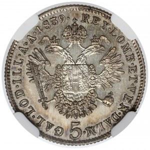 Austria, 5 krajcarów 1839-C - NGC MS61