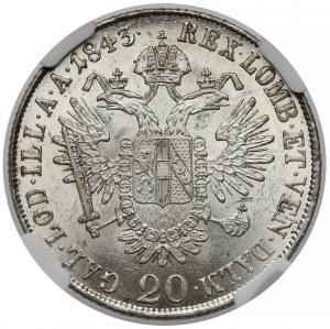 Austria, 20 krajcarów 1843-M - NGC MS61