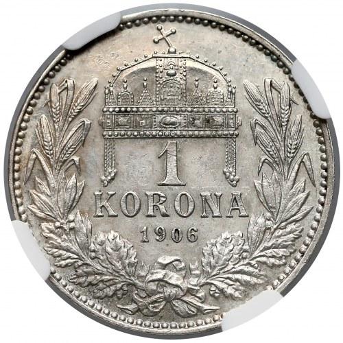 Austro-Węgry, Korona 1906 KB - bardzo rzadka - NGC UNC