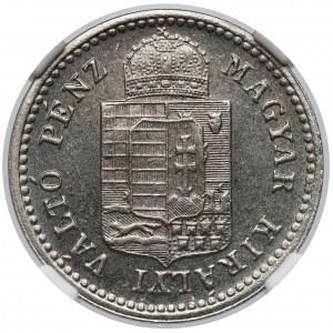 Austro-Węgry, Krajcar 1883 KB - odbitka próbna w niklu - NGC MS65