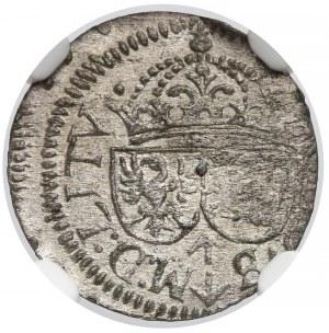 Zygmunt III Waza, Szeląg Wilno 1614 - trefl na Aw. - NGC MS63