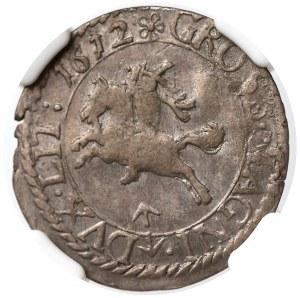 Zygmunt III Waza, Grosz Wilno 1612 - rzadki - NGC AU58