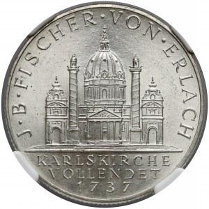 Austria, 2 szylingi 1937 Fischer von Erlach - NGC MS64