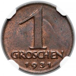 Austria, Groschen 1931 - NGC MS63 BN