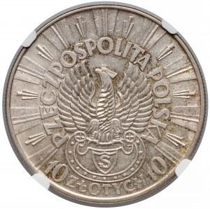 Strzelecki Piłsudski 10 złotych 1934 - NGC AU58