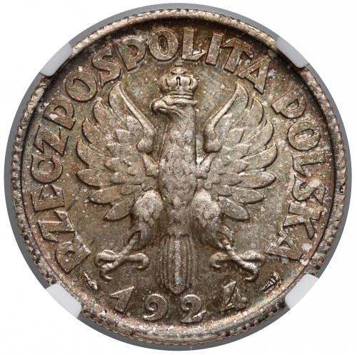 Kobieta i kłosy 2 złote 1924 Paryż - NGC MS64+