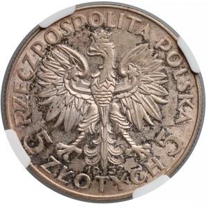 Głowa kobiety 5 złotych 1932 Warszawa - NGC AU58