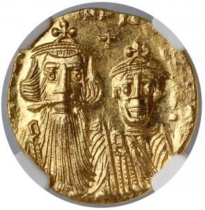 Konstans II i Konstantyn IV (641-668), Solid - NGC MS - krzyż