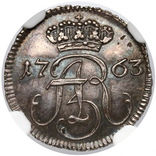 August III Sas, Szeląg Gdańsk 1763 - CZYSTE srebro - piękny