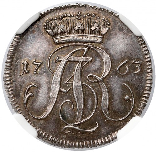 August III Sas, Trojak Gdańsk 1763 - CZYSTE srebro - piękny
