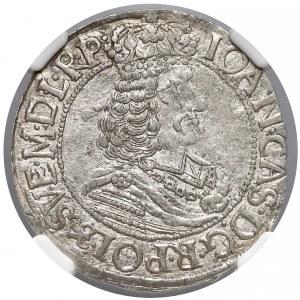 Jan II Kazimierz, Ort Toruń 1663 HDL - tarcza wygięta - NGC AU58
