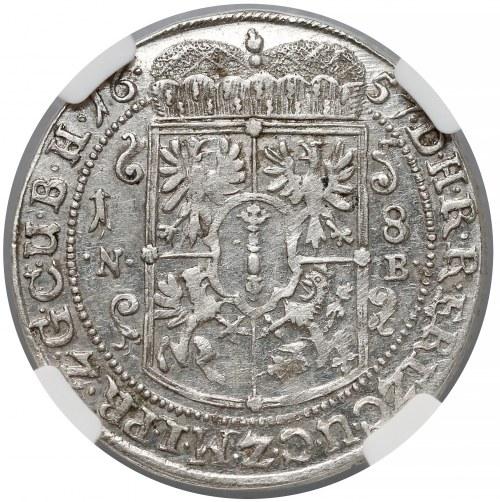 Prusy, Fryderyk Wilhelm, Ort Królewiec 1657 NB - rzadki - NGC AU58