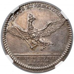 August III Sas, Odbitka Dukata w srebrze (grosz wikariacki) 1745 - rzadka