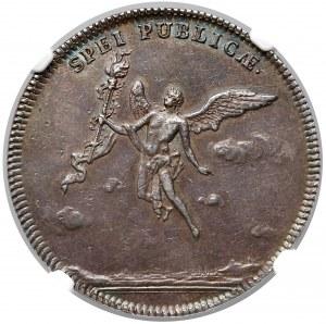 August III Sas, Gulden (2/3 talara) 1747 - zaślubinowy - NGC AU53