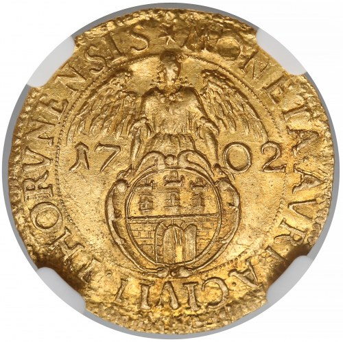 August II Mocny, Dukat Toruń 1702 - RZADKOŚĆ - NGC MS63