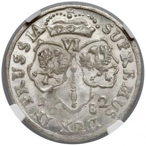 Niemcy, Prusy, Fryderyk Wilhelm, Szóstak Królewiec 1682 HS - NGC MS64
