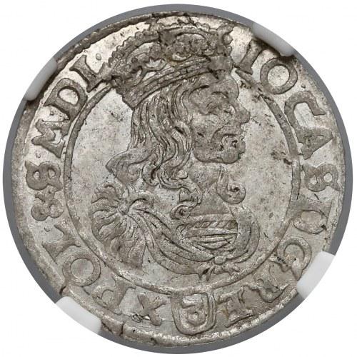 Jan II Kazimierz, Trojak Kraków 1662 - pop. w obwódce (R5)