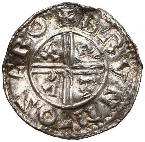 Anglia, Aethelred (978-1016) Denar typu Crux - Brungar - b. rzadki