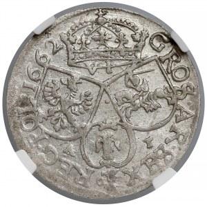 Jan II Kazimierz, Szóstak Kraków 1662 AT - bez obwódek - NGC AU58