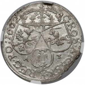 Jan II Kazimierz, Szóstak Kraków 1662 AT - NGC AU58