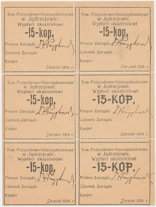 Jędrzejów, Tow. Pożyczkowo-Oszczędnościowe, 15 kopiejek 1914 - kompletny arkusik