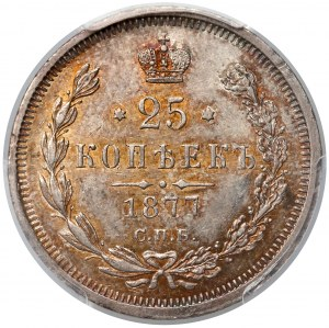 Rosja, Aleksander II, 25 kopiejek 1877 НФ - PCGS MS62