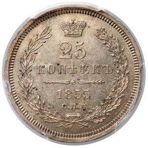 Rosja, Aleksander II, 25 kopiejek 1855 HI - PCGS MS62