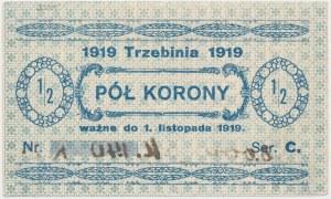 Trzebinia, 1/2 korony 1919 - blankiet z adnotacją