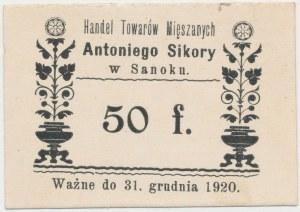 Sanok, Antoni Sikora, 50 fenigów (ważne do 31.12.1920)